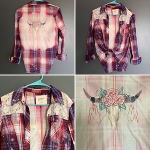 Boho Skull Rack Bleached Flannel Arizona Jean Co M